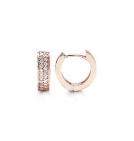 Rose Gold Pavee Set CZ Huggie Earrings