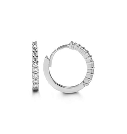 White Gold CZ Huggie Earrings (13mm)