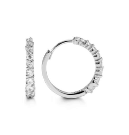 White Gold CZ Huggie Earrings (16mm)