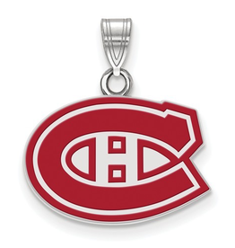 NHL Licensed Montreal Canadiens Sterling Silver Enamel Pendant (16mm)