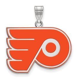 NHL Licensed NHL Licensed (Large) Philadelphia Flyers Sterling Silver Enamel Pendant