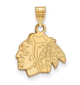 NHL Licensed Chicago Blackhawks Pendant (15mm) 10K Yellow Gold