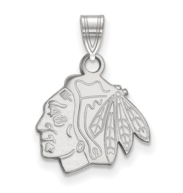 NHL Licensed Chicago Blackhawks Pendant (15mm) Sterling Silver