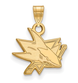 NHL Licensed San Jose Sharks Pendant (15mm) 10K Yellow Gold