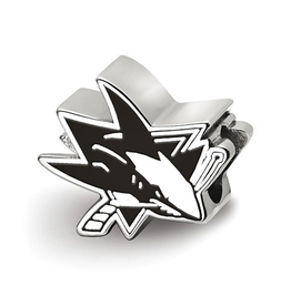 NHL Licensed San Jose Sharks Enameled Logo Bead Sterling Silver