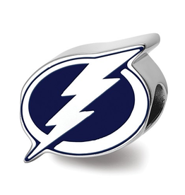 NHL Licensed Tampa Bay Lightning Enameled Logo Bead Sterling Silver