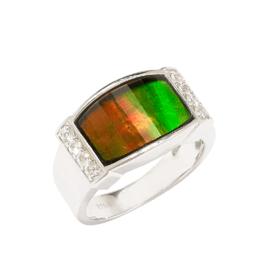 Korite Korite Aria Ammolite Men's Sterling Silver Topaz Ring