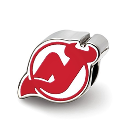 NHL Licensed New Jersey Devils Logo Enameled Bead Charm Sterling Silver