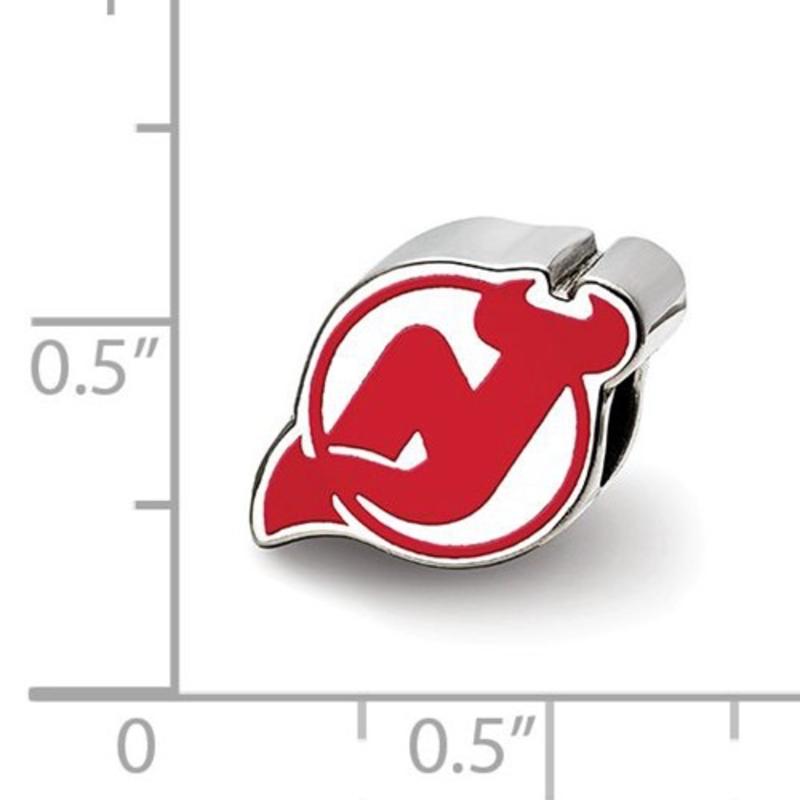 NHL Licensed New Jersey Devils Logo Enameled Bead Charm Sterling Silver