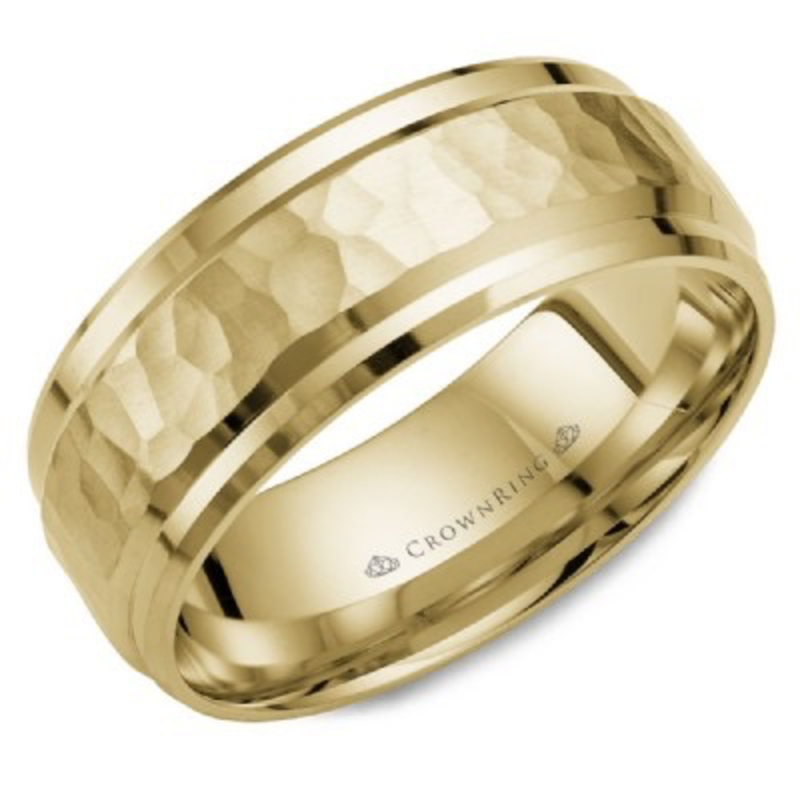 Crown Ring Crown Ring Yellow Gold Hammered 8mm Men's Wedding Band