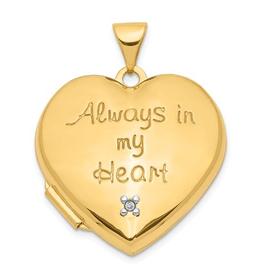 Heart Diamond Locket 14K Yellow Gold (Heart charm inside locket)