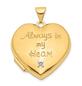 "Yellow Gold ""Always In My Heart"" Diamond Heart Locket"