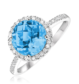 Blue Topaz and Diamond 14K White Gold Ring