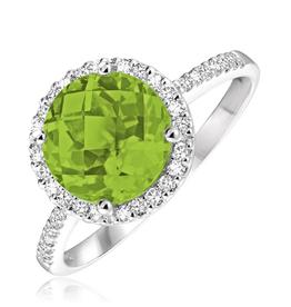 14K White Gold Halo Peridot and Diamond Ring