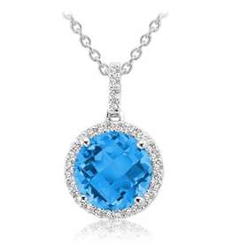 Blue Topaz and Diamond 14K White Gold Pendant
