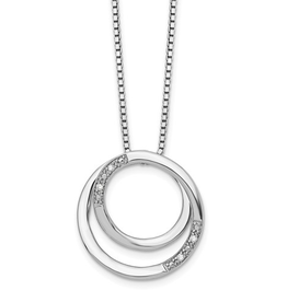 Sterling Silver Diamond Double Circle Necklace