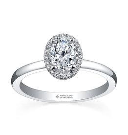 Maple Leaf Diamonds Oval Halo Canadian Diamond (0.40ct) 18K White Gold Ring