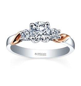 Maple Leaf Diamonds 18K Palladium White and Rose Gold Maple Leaf (0.50ct) Canadian Diamond Three Stone Engagement Ring