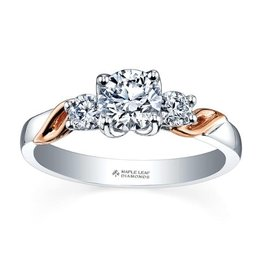 Maple Leaf Diamonds 18K White and Rose Gold Maple Leaf (0.50ct) Canadian Diamond Three Stone Engagement Ring