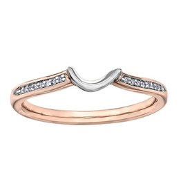 14K Rose and White Gold (0.04ct) Diamond Matching Wedding Band