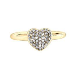 10K Yellow Gold (0.18ct) Pavee Set Diamond Heart Promise Ring