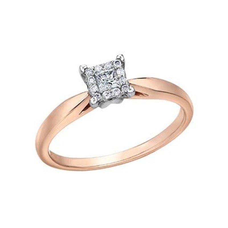 10K Rose Gold (0.13ct) Princess Cut Diamond Halo Promise Ring