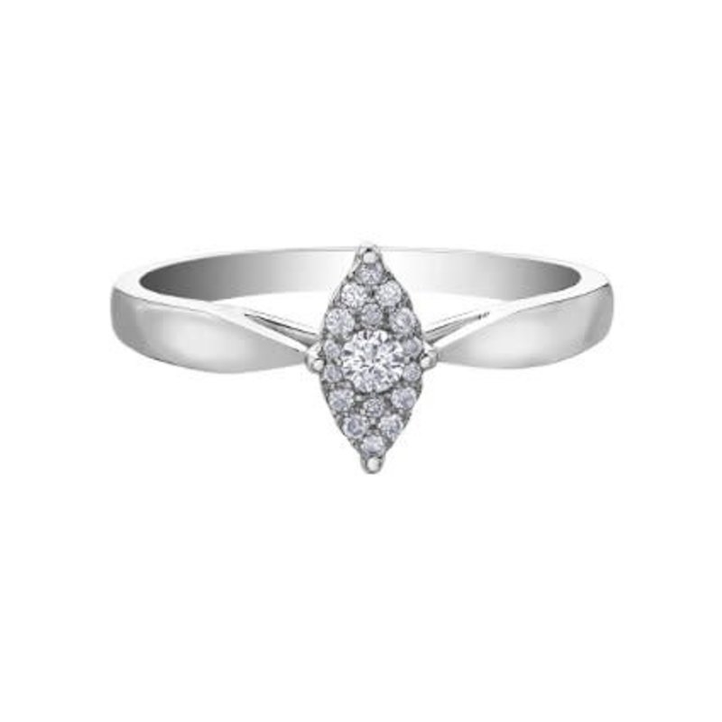 10K White Gold (0.11ct) Marquise Shaped Clustered Diamond Promise Ring