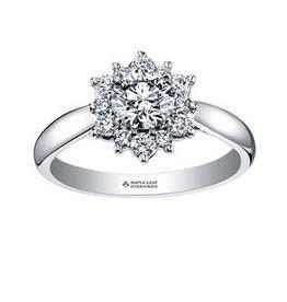 Maple Leaf Diamonds 18K Palladium White Gold Maple Leaf (0.90ct) Canadian Diamond Tides of Love Engagement Ring