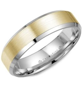 Crown Ring Bevelled (6mm) Yellow & White Gold Brushed Band
