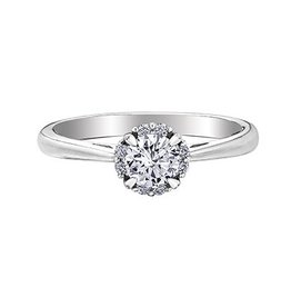 I am Canadian 14K White Gold (0.58ct) Canadian Diamond Halo Engagement Ring
