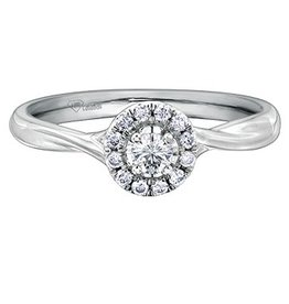 I am Canadian 10K White Gold Halo (0.30ct) Canadian Diamond Engagement Ring