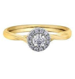 I am Canadian 10K Yellow Gold Halo (0.20ct) Canadian Diamond Engagement Ring