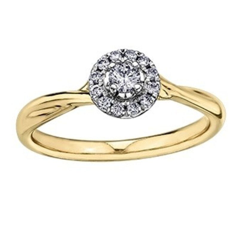 I am Canadian 10K Yellow Gold (0.20ct) Canadian Diamond Halo Engagement Ring