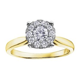 10K Yellow Gold Cluster Diamond Ring (0.13cttw)