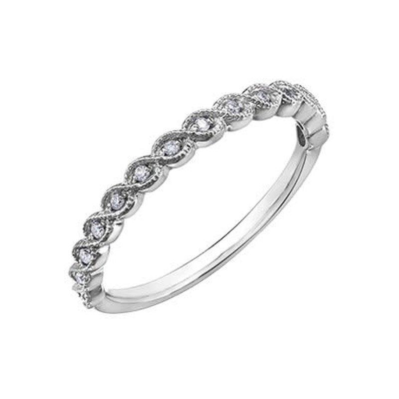 10K White Gold (0.07ct) Diamond Stackable Wedding Band