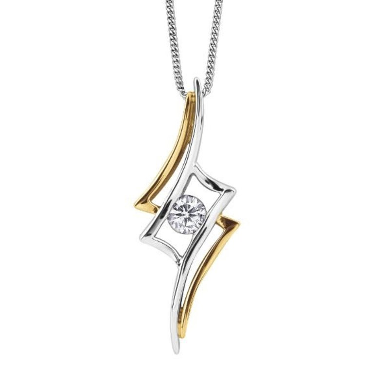 10K Two Tone White and Yellow Gold  (0.14ct) Canadian Diamond Pendant