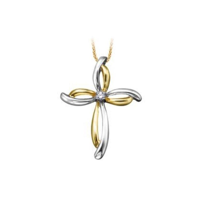 Cross Diamond Pendant Yellow and White Gold