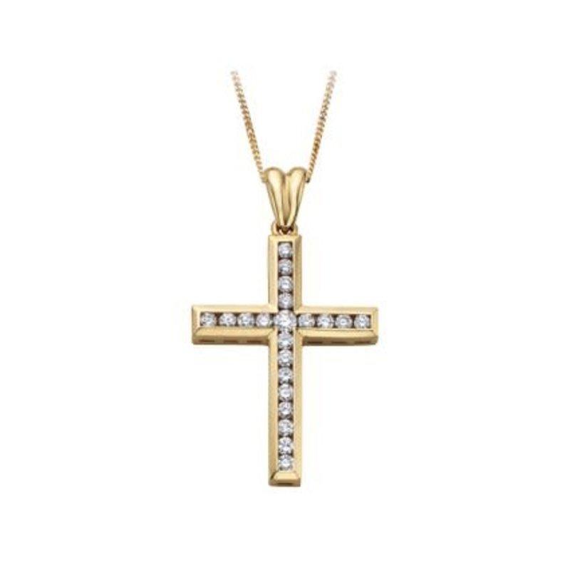 Diamond Cross (0.15ct) Yellow Gold Pendant