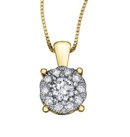 10K Yellow Gold Starburst (0.06ct) Diamond Cluster Halo Pendant