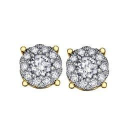 14K Yellow Gold (1.00ct) Diamond Cluster Earrings