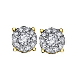 Starburst Yellow Gold (1.00ct) Cluster Diamond Stud Earrings