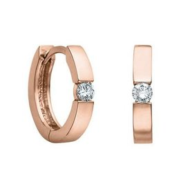 10K Rose Gold (0.10ct) Diamond Huggie Hoop