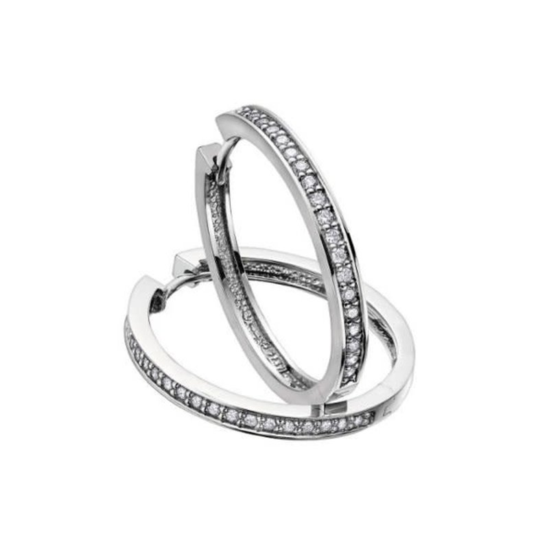 10K White Gold (1.00ct) Diamond Hoop Earrings