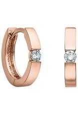 10K Rose Gold (0.05ct) Diamond Huggie Hoop