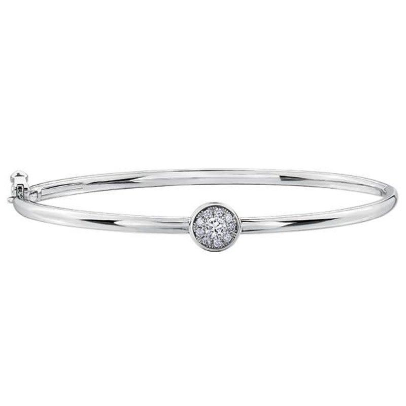 White Gold Cluster Diamond Bracelet (0.25cttw)