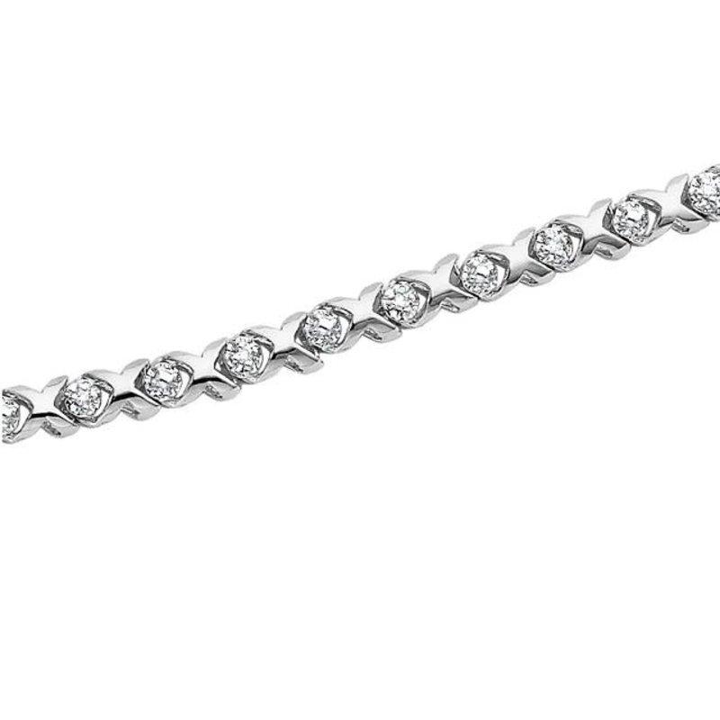 10K White Gold (0.15ct) Hugs and Kisses Diamond Tennis Bracelet