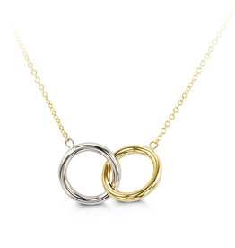 Double Circle Two Tone 10K Gold Necklace
