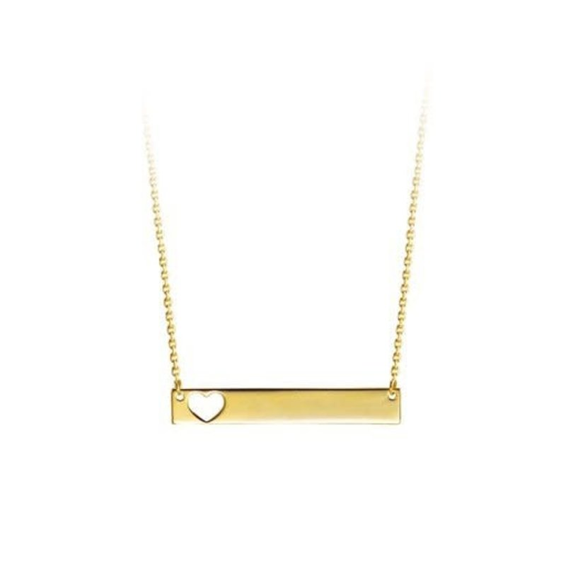 Yellow Gold Bar Necklace with Cut Out Heart