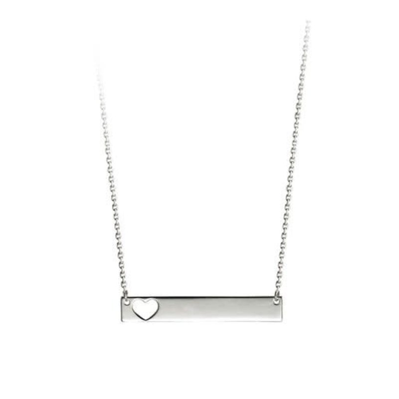 White Gold Bar Necklace with Cut Out Heart