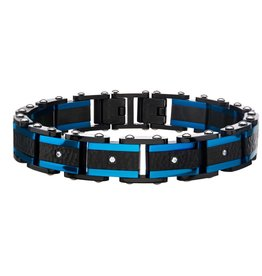 Inox Stainless Steel Black and Blue Plated CZ Hammered Link Bracelet